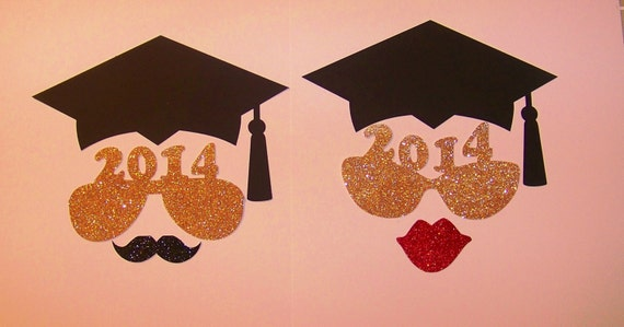 Graduation Photo Booth Props with Glitter 6 pc Photobooth Prop Class of 2016 Photo Booth Props Graduation Party Photo Props Graduation Decor