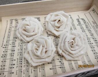 4pcs Fabric Roses/Handmade Muslin Fabric Roses/Fabric Flowers/Vintage roses