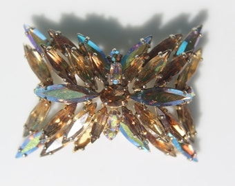 Iridescent crystal vintage brooch - 1960s