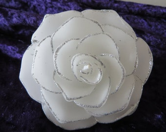 """Floating Rose Candle - white with silver edging - Unscented - 3 3/4"""" in diameter"""