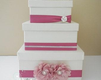 Wedding card box / money box / card holder / gift card box / 3 Tier (Ivory & Rose)