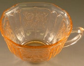 Mayfair Open Rose Pink Depression Glass Cup Hocking Glassware Vintage Authentic Great Condition Roses