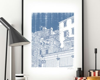 Blue Mediterranean Summer. Large print - B2 poster