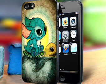 Stitch And Turtle iPhone 4, 4s, 5, 5s Galaxy S3, S4, S5, S6, S7 Note 2, Note 3, Note 4, Note 5 Cell Phone Back Case Cover