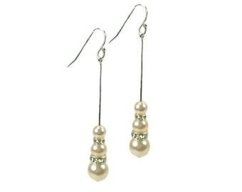 Crystal & Pearl Bridal Earrings, Bridesmaid Earrings, Long Drop Earrings, Pearl Drops, Bridal Wedding Jewellery, Bridesmaid Jewellery - LANA