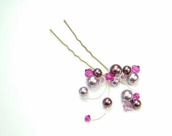 Fuchsia & Mauve Fan Hair Pin - wedding hair accessory, bridal hair accessory, bridesmaid hair accessory, wedding hair clip