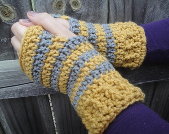 Handmade Striped Acrylic Crochet Fingerless Gloves Wristers Wristwarmers Armwarmers Ladies Women's Girls Teens Trendy