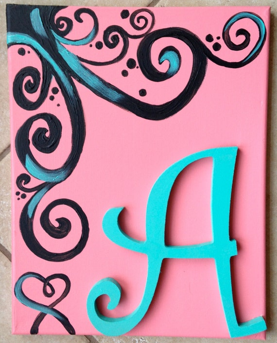 Items Similar To Initial In Swirls-- 11 X 14 Canvas On Etsy