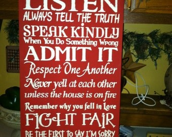 Always Kiss Good Morning,Tell the Truth,Kiss,Listen,Always Kiss Good Night Sign