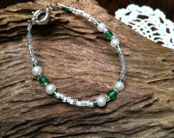 May Emerald Dainty Baby Birthstone Bracelet