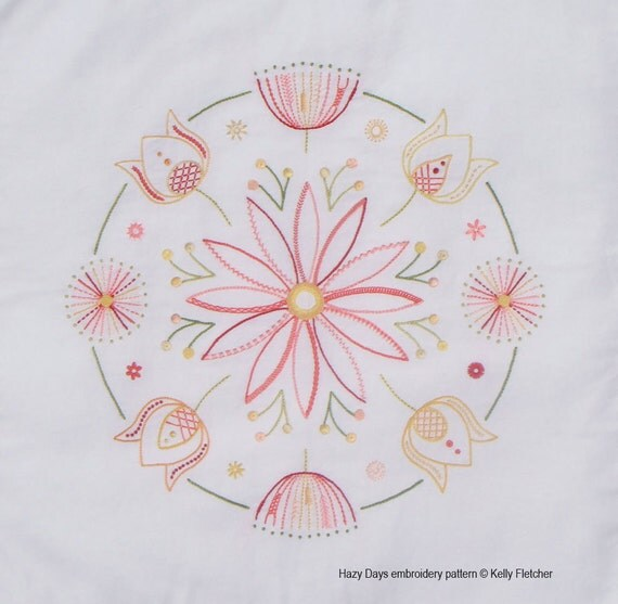 Hazy days modern hand embroidery pattern