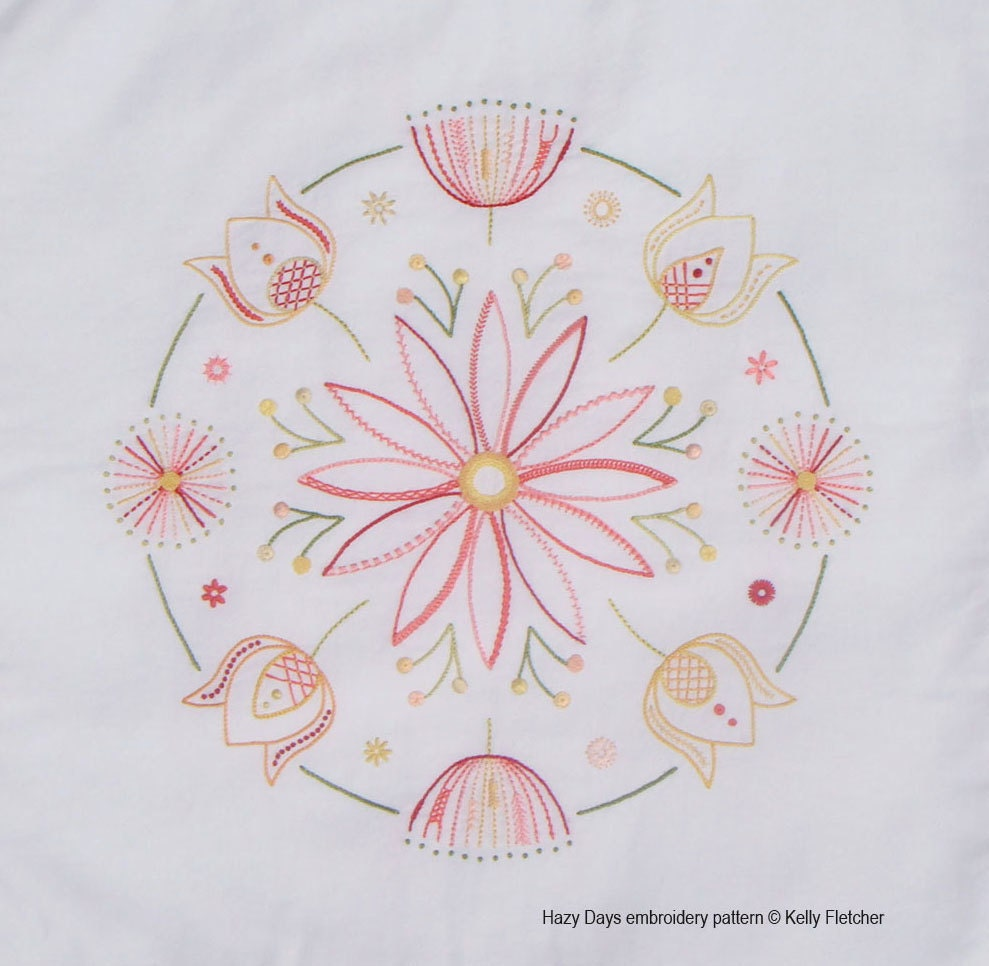 Hazy days modern hand embroidery pattern