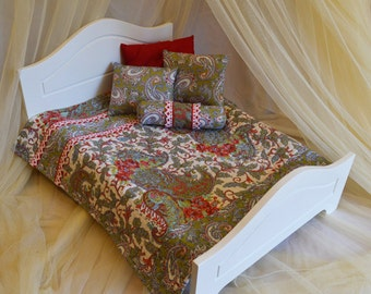 Quilt, green & red paisley bedding set- for dolls
