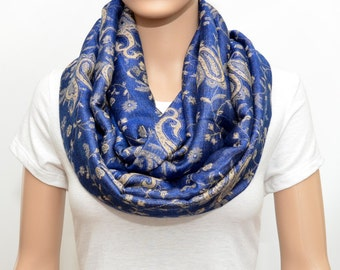 Blue Scarf - Blue paisley Infinity Scarf