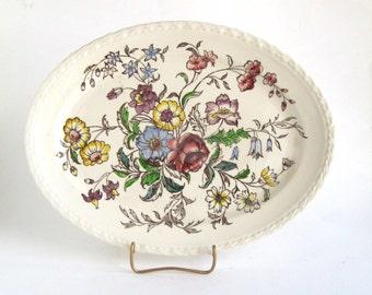 Vernon Kilns Oval Platter -  Mayflower Pattern