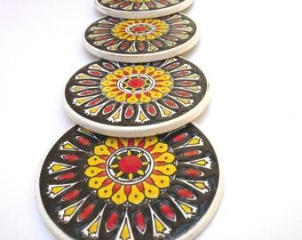 Black Ceramic Coaster, Mandala Coaster, Drink Coaster, Mandala Coaster, Ceramic Coaster, Coaster Set, Tile Coaster, Trivet Coaster