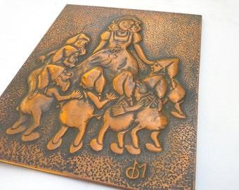 Snow White, Unique Copper Wall Decor, Copper Repousse, Copper Wall Art, Empossed Copper, Greek Metal Art