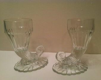 Vintage Jeanette Glass Cornucopia Vase Pair Gold Trimmed