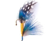 Mustard Yellow and Sapphire Blue Fly Fishing Lure Boutonniere