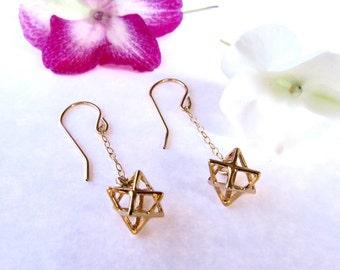 Tiny star earrings, Gold Merkaba Earrings, Star of David earrings, 3D Star earrings, Kabbalah jewelry, dainty earring