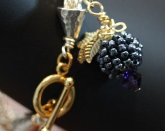 Delicious Black Raspberry Viking Knit Toggle Bracelet