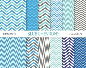 Blue Chevron digital paper pack, 12 Digital Scrapbook Paper Blue chevrons - BR 193