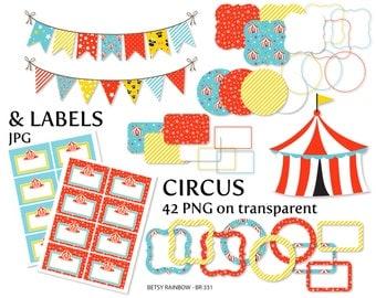 Circus clipart pack, circus digital labels, digital frames, bunting clipart, scrapbook supplies, carnival, circus - BR 331