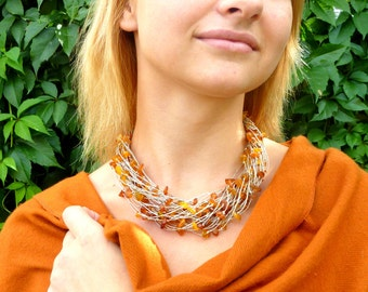 Yellow Gold Summer Style Linen Necklace/Baltic Amber /Baltic Amber Necklace /Baltic Amber Necklace in Handmade