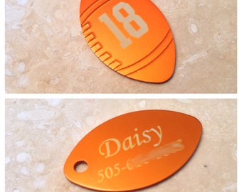 Laser Engraved Football Pet Tag