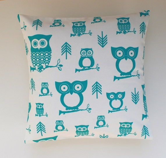 Owl Throw Pillow Etsy : Items similar to Decorative Throw Pillow, Cushion, Owl Pillow, Turquoise Owl, size 14