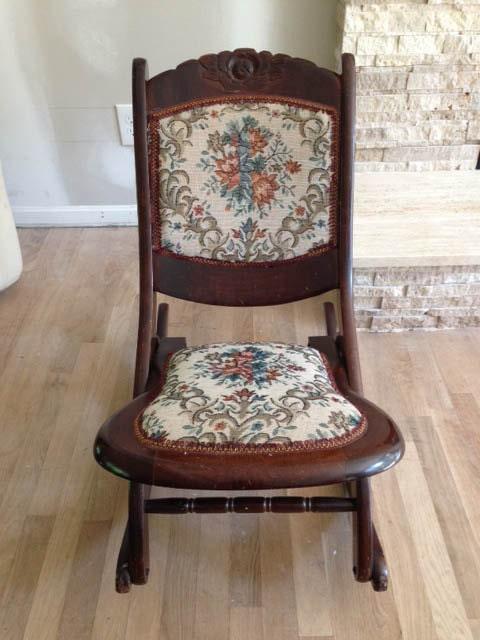 solid wood antique folding rocking chair. Black Bedroom Furniture Sets. Home Design Ideas