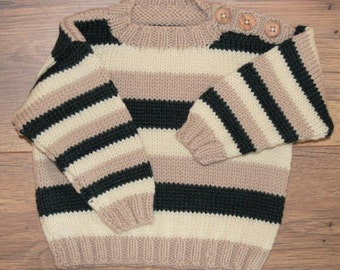 Baby boys Merino wool striped jumper sweater pullover 6-12 months