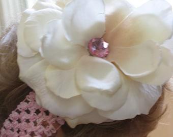 Pink Jewel & Flower Headband