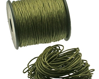 Dark Olive BRAIDED Waxed Cotton Cord, 1mm - 25 feet/7.62 meters.