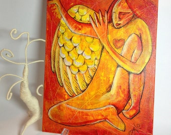 Whimsical Angel painting, mixed media painting acrylic ink on canvas panel modern wall art, figurative painting, primitive wall art