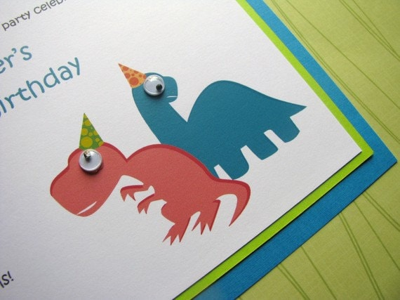 Dinosaur Invitation, Birthday Party, Boy Baby Shower, Eye Embellishment, Dinosaur Party - Dinomite