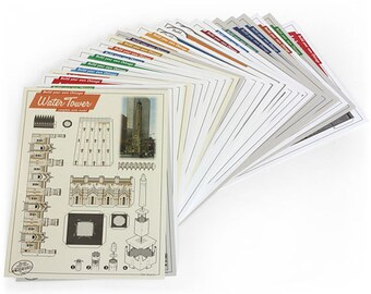 Build Your Own Chicago architectural paper model postcards