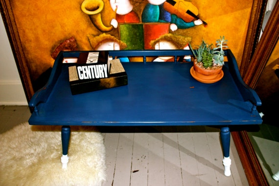 small navy blue coffee table with white dipped legs country turned