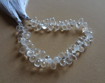 30 pcs 7 to 10 mm Crystal Quartz Briolette Faceted Drops-AAA Quality