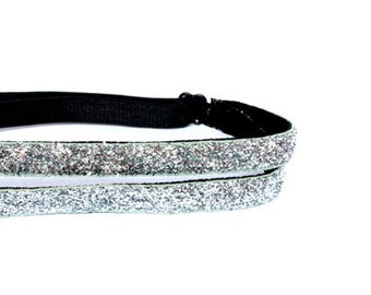 Women and Girls Athletic Non Slip Adjustable Headband in Sporty Double Skinny Silver Sparkle Glitter 3/8 inch