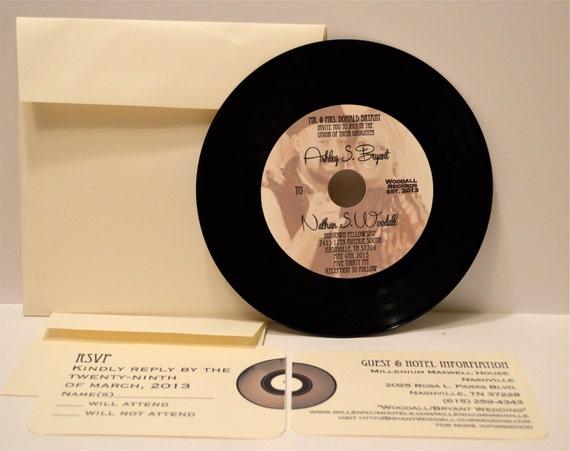 Record Wedding Invitations: 45 Vinyl Record Wedding Invitation