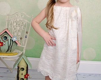 Ivory lace and satin pillow case dress10-12