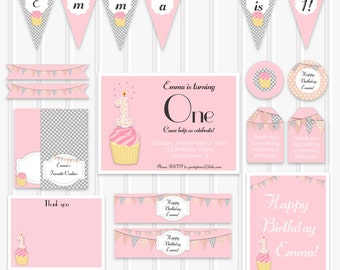 1st Birthday Party Set, Printable Pink Birthday Decoration Kit, pink and grey INSTANT DOWNLOAD First Birthday Invitation, Cupcake Invitation