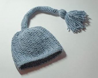 Adorable Sleep Cap knit in Merino wool and silk, photography prop