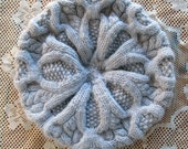 Hand-Knit Soft Beige Beret - Merino Wool and Angora Super Soft and Warm, Slightly Slouchy for Women-Intricate celtic cables-Australian Wool