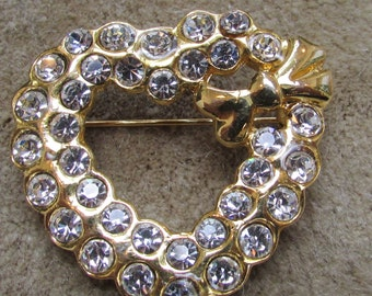 vintage flashy rhinestone heart  with bow Valentine  pin brooch