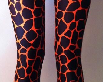 Soul Trend Womens Leggings/Tights/Printed Nylon Spandex Stretch Fabric/Orange Black Giraffe Print Activewear New