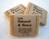 1630 Oatmeal & Honey Sample - pure olive oil castile soap with honey and ground oatmeal (organic . palm oil free)