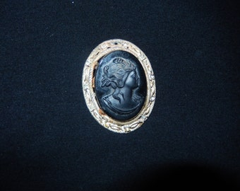 Black Cameo Brooch