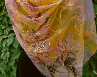 Natural silk shawl - floral, lily violet-orange hand painted scarf